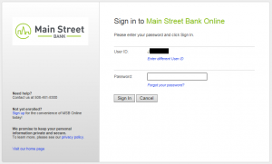 Screenshot of online banking login screen, step two to reset your online banking password
