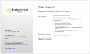 Screenshot of online banking login screen, step six to reset your online banking password