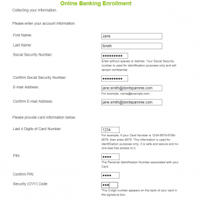 how to enroll in online banking step 2 screenshot