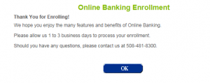 how to enroll in online banking step 5 screenshot